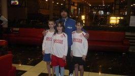 Шебановы Гриша, Варя и Саша с мастером Рафаелем Агеевым